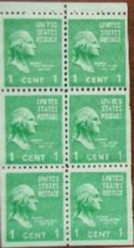 804b 1c George Washington, Booklet Pane of 6 F-VF Mint NH 804bnh