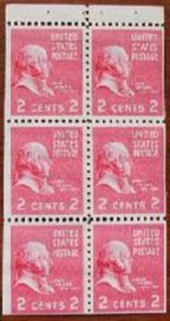 806b 2c John Adams, Booklet Pane of 6 F-VF Mint NH 806bnh