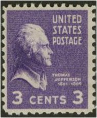 807 3c Jefferson F-VF Mint NH 807nh