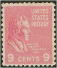 814 9c Wm. H. Harrison F-VF Mint NH 814nh