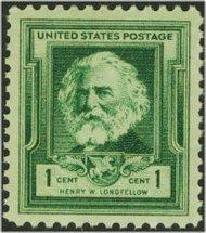 864 1c Henry Longfellow F-VF Mint NH 864nh