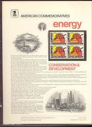 1723-24 13c Energy Conservation USPS Cat. 87  Commemorative Panel cp087