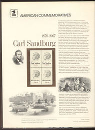 1731 13c Carl Sandburg USPS Cat. 90  Commemorative Panel cp090