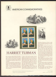 1744 13c Harriet Tubman USPS Cat. 92 Commemorative Panel cp092