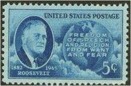 933 5c F.D.Roosevelt F-VF Mint NH 933nh