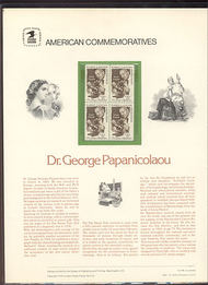 1754 13c Dr. Papanicolaou USPS Cat. 96 Commemorative Panel cp096