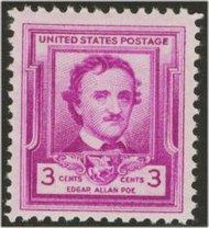 986 3c Edgar Allan Poe F-VF Mint NH 986nh
