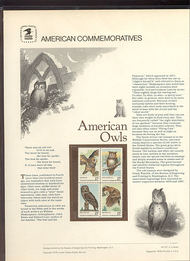 1760-63 15c American Owls USPS Cat. 101 Commemorative Panel cp101