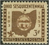 1018 3c Ohio F-VF Mint NH 1018nh