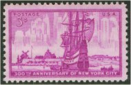 1027 3c New York City F-VF Mint NH 1027nh