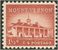 1032 1 1/2c Mount Vernon F-VF Mint NH 1032nh