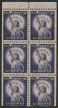 1035a 3c Statue of Liberty, Booklet Pane of 6 F-VF Mint NH 1035anh