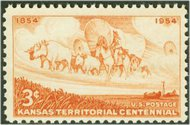 1061 3c Kansas Territory F-VF Mint NH Plate Block of 4 1061pb