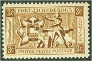 1071 3c Fort Ticonderoga F-VF Mint NH 1071nh