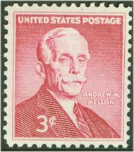 1072 3c Andrew Mellon F-VF Mint NH Plate Block of 4 1072pb
