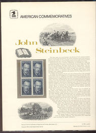1773 15c John Steinbeck USPS Cat. 108 Commemorative Panel cp108