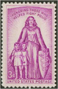 1087 3c Polio Fighters F-VF Mint NH 1087nh