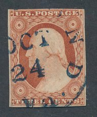 10A 3c Washington, orange brown, Type I Imperforate F-VF Used 10aused