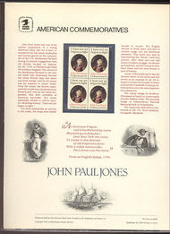 1789 15c John Paul Jones USPS Cat. 115 Commemorative Panel cp115