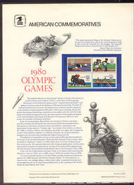1791-94 15c Olympic Games USPS Cat. 116 Commemorative Panel cp116