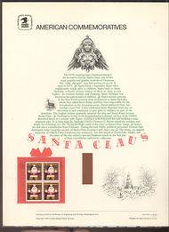 1800 15c Santa Claus USPS Cat. 118  Commemorative Panel cp118