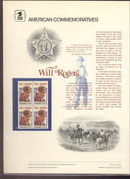 1801 15c Will Rogers USPS Cat. 119  Commemorative Panel cp119