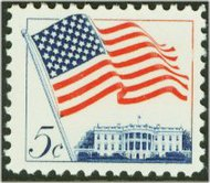 1208 5c Flag-White House F-VF Mint NH Plate Block of 4 1208pb