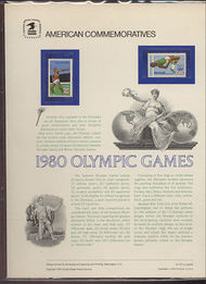 1790/C97 10c & 31c Olympics USPS Cat. 121 Commemorative Panel cp121
