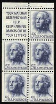 1213a 5c Washington, Booklet Pane of 5 Slogan 1 Used 1213asl1usd