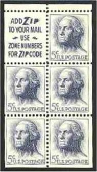 1213a 5c Washington, Booklet Pane of 5 Slogan 2 Used 1213asl2usd