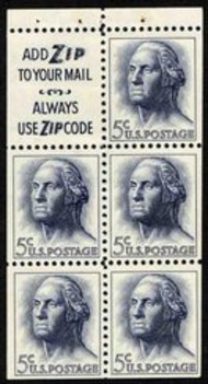 1213a 5c Washington, Pane of 5 Slogan 3 Used 1213asl3usd