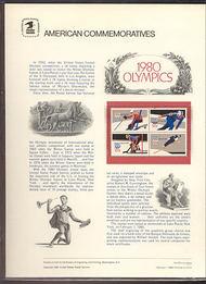 1795-98 15c Winter Olympics USPS Cat. 123 Commemorative Panel cp123