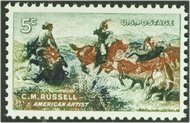 1243 5c Russell Painting F-VF Mint NH Plate Block of 4 1243pb