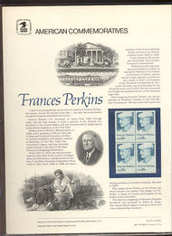 1821 15c Frances Perkins USPS Cat. 125 Commemorative Panel cp125