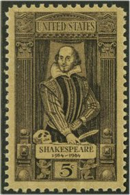 1250 5c Shakespeare F-VF Mint NH Plate Block of 4 1250pb