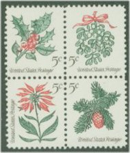 1254-7 5c Christmas, 4 singles F-VF Mint NH 1254sgl