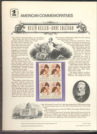 1824 15c Helen Keller/Anne Sullivan USPS Cat. 127  Commemorative Panel cp127