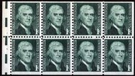 1278ae 1c Jefferson, Booklet Pane of 8,Dull Gum F-VF Mint NH 1278ae