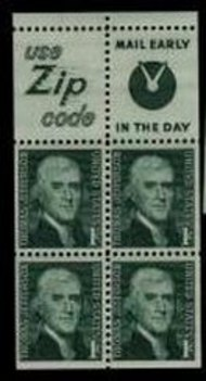 1278b 1c Jefferson, Booklet Pane of 4 Used 1278bbkused