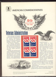 1825 15c Veterans Administration USPS Cat. 128  Commemorative Panel cp128