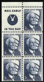 1280a 2c Wright,Booklet Pane of 5 Slogan 4 F-VF Mint NH 1280asl4