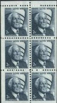 1280c 2? Frank L. Wright Booklet Pane of 6 Mint NH 1280cnh