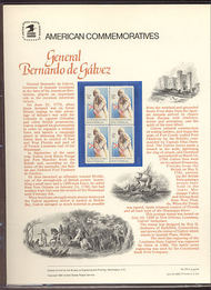 1826 15c General de Galvez USPS Cat. 129  Commemorative Panel cp129