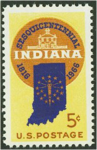 1308 5c Indiana Statehood F-VF Mint NH 1308nh
