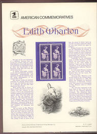 1832 15c Edith Wharton USPS Cat. 132  Commemorative Panel cp132