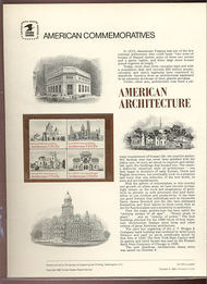 1838-41 15c American Architecture USPS Cat. 135  Commemorative Panel cp135