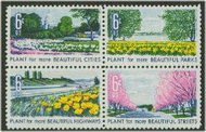 1365-8 6c Beautification Attached block of 4 F-VF Mint NH 1365nh