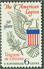 1369 6c American Legion F-VF Mint NH Plate Block of 4 1369pb