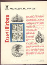1874 15c Everett Dirksen USPS Cat. 138 Commemorative Panel cp138