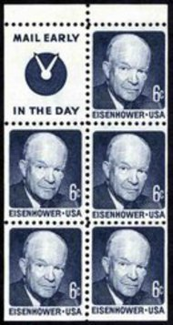1393b 6c Eisenhower, Booklet Pane of 5 Slogan 4 F-VF Mint NH 1393bs4